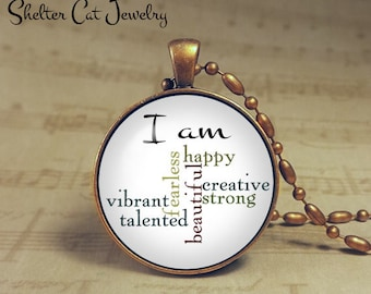 """I Am Fearless Necklace - 1-1/4"""" Circle Pendant or Key Ring - Original Handmade Wearable Photo Art Jewelry - Inspirational Gift for Her"""