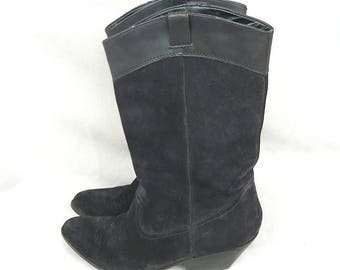 Vintage Ladies Black Suede n Leather Cowboy Boots / size 8 Eu 38 .5 Uk 5 .5 / Contoured Flat Slouch Western Ankle Boot