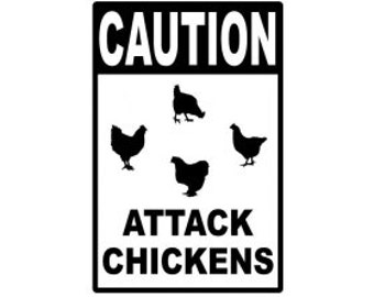 "CAUTION Attack Chickens 12x18"" Metal Sign"