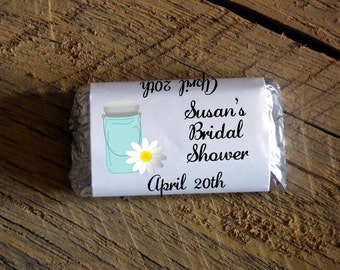 Mason Jar Daisy Bridal Shower Wedding Candy Bar Wrappers  Rehearsal Dinner Favors Candy Wrappers