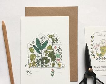 Carte et enveloppe kraft - carte illustrée, illustration botanique, serre tropicale, jardin botanique, plantes, cactus, monstera