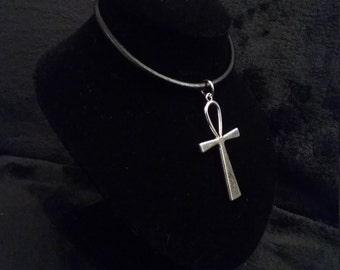 Large Silver Ankh on Black Leather Necklace or Silver Plated Chain