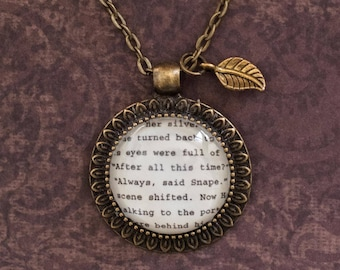 Valentines Day, Valentines Day Gift, Harry Potter 'After All This Time?' 'Always', Snape Book Necklace. Harry Potter Quote,