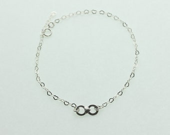 Sterling Silver Heart Chain Infinity Ankle Bracelet (AIF)
