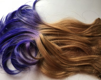 READY to SHIP Purple and Medium Blonde Ombre Fade Dip Dye Clip in Human Hair Extensions Set Double Layered