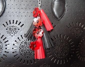Leather Tassels, Keyring, Tassel Keychain,  Leather keychain, Genuine Leather, Handmade keychain, leather bag charm