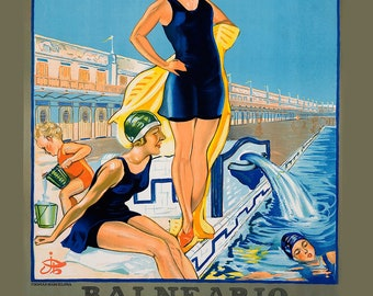 Vintage Travel poster - Summer - At the beach - Barcelona - Spain - Girls swimming - Vintage bathing suit - Family swim - pool decor -