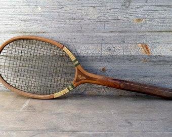 Antique Driver Anchora Wooden Tennis Racket Rustic Interior Detail Home Decor Wall Hanging Ornament Collectible Racquet Sport Memorabilia
