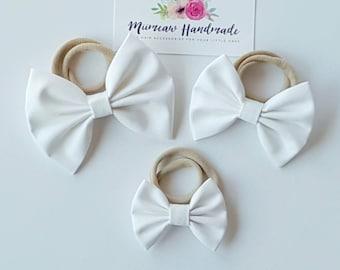 White Fabric Bow Headband, hair Clip, Nylon Headband, Bow Hair Clip , Girls Hair Clip - You Choose Headband or Clip