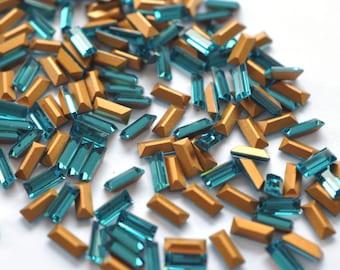 Swarovski 4501 7x3mm Indicolite Baguette Crystal Rhinestones 12 Pieces