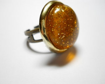 Ring Vintage Lucite Earring Upcycled