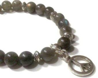 Labradorite Beaded peace charm bracelet