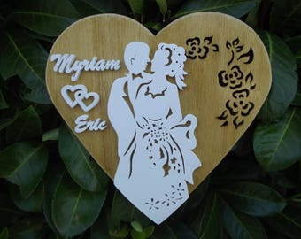 Nice married name White embossed heart