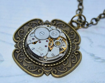 Steampunk pendant Steampunk jewelry For men statement necklace Gift for her boyfriend gift  gift-for-girlfriend gift women