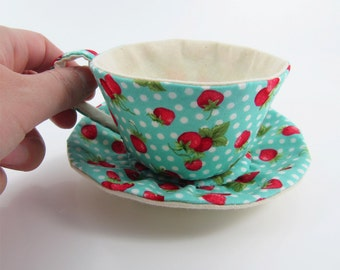 MADE-TO-ORDER ( 1 - 2 Weeks)- Textile Teacup Tidy- Strawberry Spots-Turquoise Green