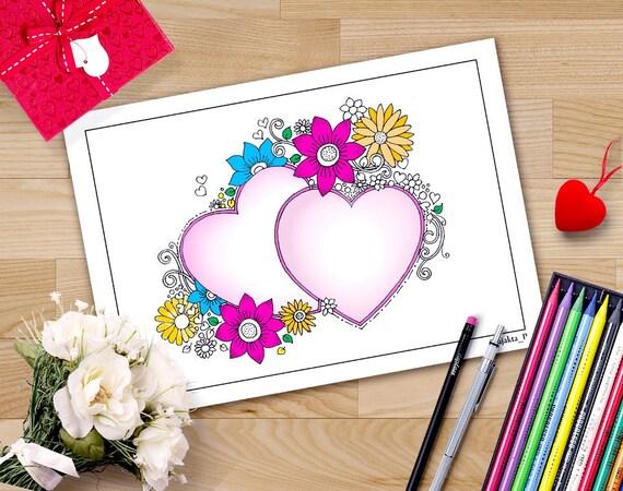 Corazones de San Valentín para imprimir páginas para colorear