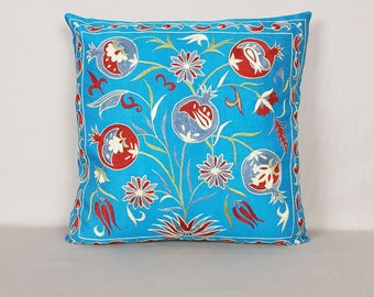 Silk hand embroidered Suzani Pillow ,Decorative Pillow For Couch ,crokhet chain stich suzani pillow, Suzani Designer Throw Pillows