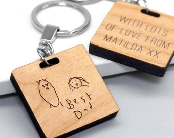 Child's Drawing Keyring, Wooden Childs Drawing Keychain, Grandparent Gift, Handwriting Keyring, Personalised Child's Drawing Square Keyring