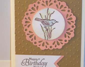 Birthday card - bird on pink flower