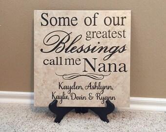 Grandma Gift, Personalized Tile, Nana gift, Gifts for Nana,  Great Grandma Gift, Grandma to be, Gigi Gift, Gifts for Gigi, Gigi Sign, 12X12