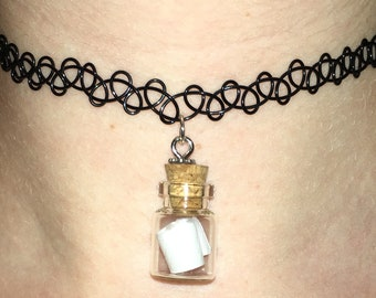 message in a bottle tattoo choker