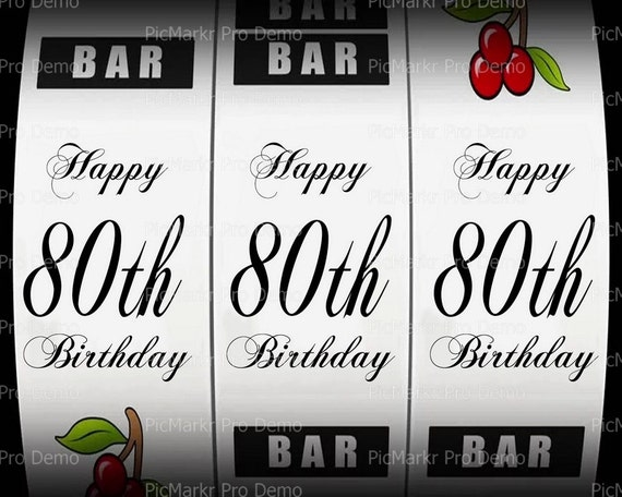 80th Birthday Casino Slot Machine - Edible Cake and Cupcake Topper For Birthday's and Parties! - D21874
