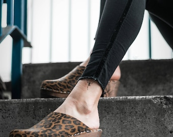 Swedish Clogs High Heel Classic Leopard Leather by Lotta from Stockholm / Wooden / Scandinavian / Mules / Shoes / Sweden / clog sandals