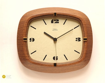 Mid Century DIEHL JUNGHANS Wall Clock - 60s Modern German mcm Panton Atomic Space Age brass wood Ato-Mat