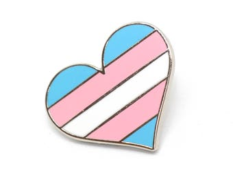 Transgender pride pin, transexual pin, Gay lapel pin, Trans flag pin, heart enamel pin, gay decoration, he she pin, LGBTQ pin, parade pin