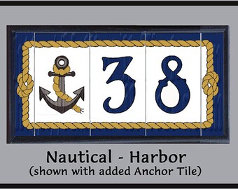 Nautical - Harbor, House Numbers Address Tiles, Framed Set, Anchors, Seahorses, Rope
