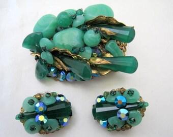 Green Art Glass Brooch Earrings, Molded Glass,  Aurora Borealis Rhinestones, Mid Century, European Jewelry
