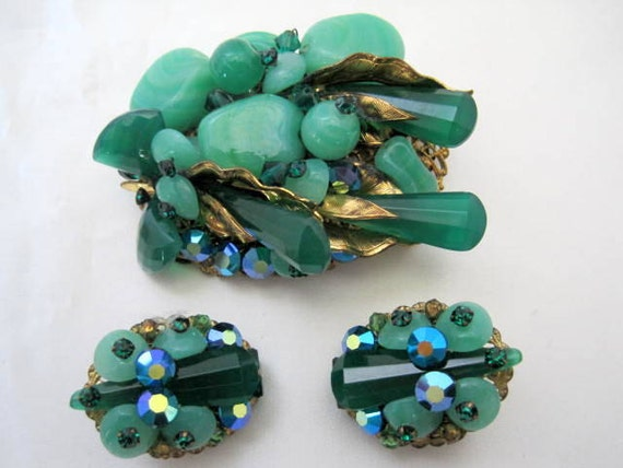 Art Glass Brooch Earrings,  Green Molded Glass,  Aurora Borealis Rhinestones, European Jewelry