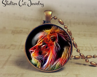 """Lion Necklace - 1-1/4"""" Circle Pendant or Key Ring - Handmade Wearable Photo Art Jewelry - Nature Art - Lion in Fractals - Gift"""
