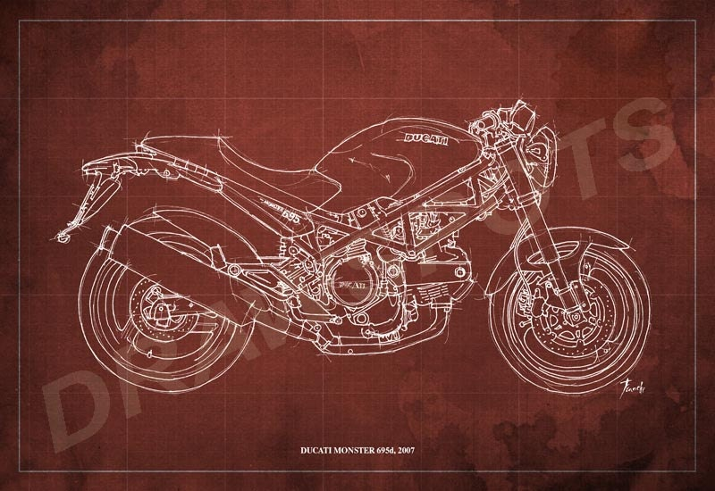 Ducati monster 695d blueprint art print 8x12 in and larger zoom malvernweather Images
