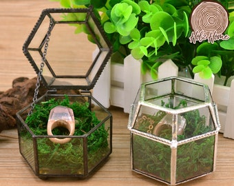 Metal Glass Ring Box Engagement Jewelry Wedding Gift box Ring Box Geometric glass box Gift for Her