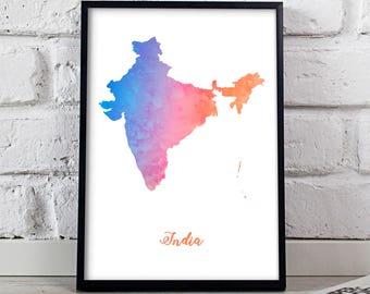 India print India poster India art Watercolor India Map poster wall art India wall decor Gift poster