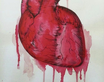 Valentines day card. Bleeding heart