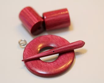 Wood Toggle with end caps, Pink - hand carved