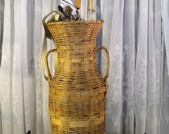 Vintage 60's wicker umbrella basket