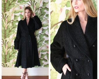 1940s Princess Coat / New Look Winter Coat / Full Skirt Forties Coat / Large Collar Bow Swing Coat / Bell Sleeves / Size Large Vintage Coat