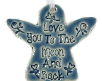 Love You to the Moon and Back Christmas ornament Christmas gift Angel ornament gift for granddaughter gift for friend angel gift