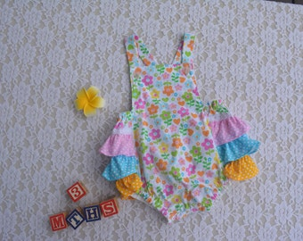 Baby girl ruffled vintage style bubble rompers / bloomers. Frilly rompers.