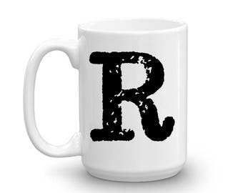 Initial Mug - Letter R - 15oz Ceramic Cup - Boss Gift Mug - Right-Handed or Left-Handed Mug