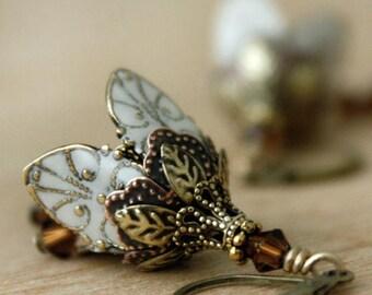 Buttercream Flower Earrings/ Dangle Earrings/Drop Earrings/Modern Long Earrings/Valentine's Day Gift