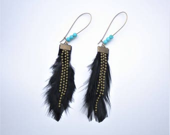 Earrings black feathers and turquoise beads