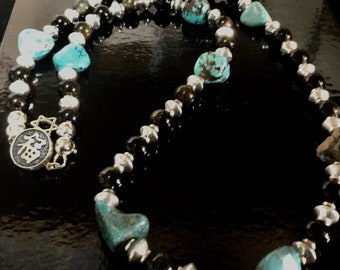 Turquoise and Necklace obsidian with Silver necklace Set, bracelet, Agate/Turquoise earrings