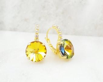 Iridescent Crystal Earrings - Yellow Topaz Earrings - Citrine Earrings - Yellow Dangle Earrings - Sunflower Yellow Earrings - November E3374