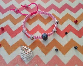 Two-tone dark and light pink shamballa bracelet
