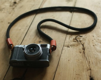 Windmup COOL Black Climbing rope 10mm dyeing leather handmade Camera strap