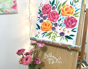 Spring Floral Painting 12x12 inch original painting on canvas with painted sides / acrylic flower painting / spring home decor / floral art